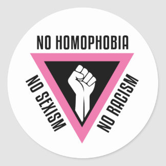 LGBT - Raised fist in Pink triangle Classic Round Sticker