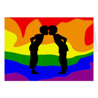 LGBT Two Men Kissing Silhouette Greeting Card