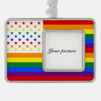 LGBT USA SILVER PLATED FRAMED ORNAMENT