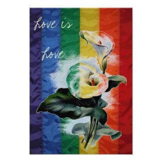 LGBT Wedding Rainbow Vintage Botanical Calla Lily Announcement