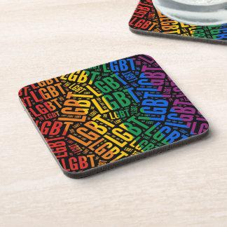 LGBT WORD PATTERN COLOR - png Beverage Coaster