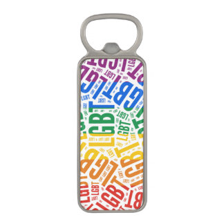 LGBT WORDS RAINBOW MAGNETIC BOTTLE OPENER