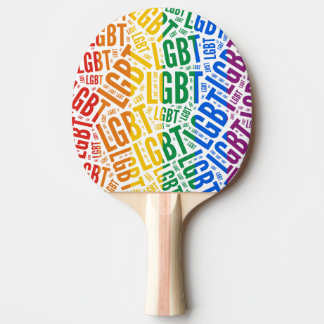 LGBT WORDS RAINBOW PING PONG PADDLE