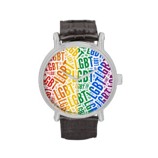 LGBT WORDS RAINBOW -.png Wristwatches