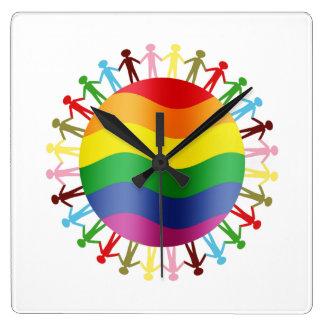 LGBT World Harmony Square Wall Clock