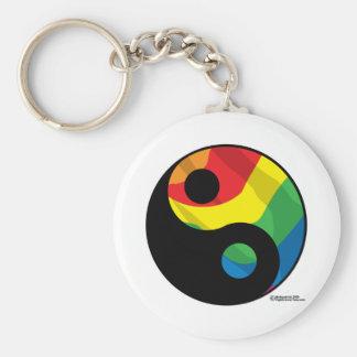 LGBT Ying Yang Basic Round Button Key Ring