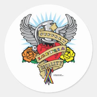 LGBTQIA Dagger Round Sticker