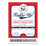 LGC Batter Up Baseball Ticket Celebration/Birthday 3.5x5 Paper Invitation Card