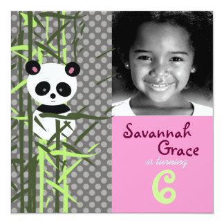 "LGC | Panda Peek A Boo Pink Invitation 5.25"" Square Invitation Card"