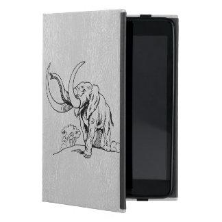 LGray Faux Leather & Black Elephant Illustration Case For iPad Mini