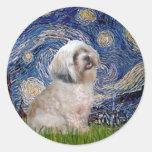Lhasa Apso 10 - Starry Night Round Sticker