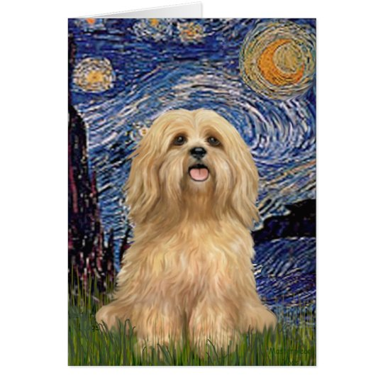 Lhasa Apso 9 - Starry Night (Vert) Card