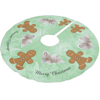 Lhasa Apso and Gingerbred Man Brushed Polyester Tree Skirt