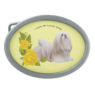 Lhasa Apso and Yellow Roses Belt Buckles