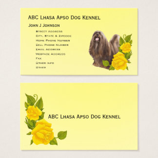 Lhasa Apso and Yellow Roses Business Card