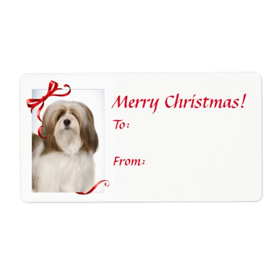 Lhasa Apso Christmas Gift Stickers Shipping Label