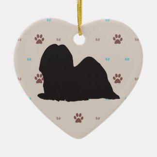 Lhasa Apso Ceramic Heart Decoration