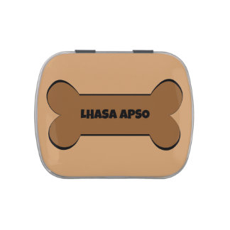 Lhasa Apso Dog Bone Candy Tin