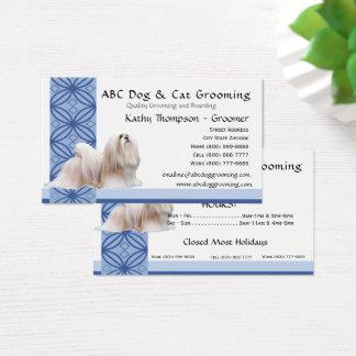 Lhasa Apso on Blue Design Business Card