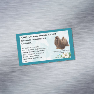 Lhasa Apso on Teal Floral Magnetic Business Cards