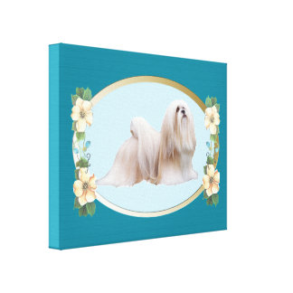 Lhasa Apso on Teal Oval and Flowers Canvas Print