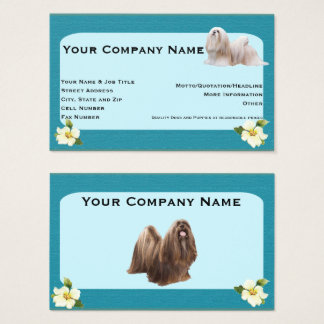 Lhasa Apso on teal with dogwwood flower Business Card