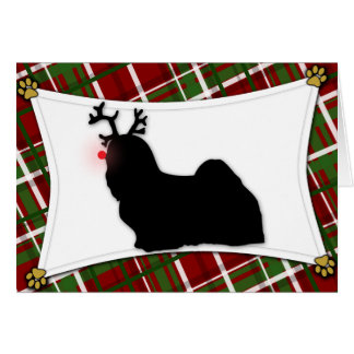 Lhasa Apso Reindeer Christmas Card