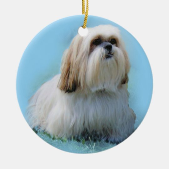 Lhasa Apso Round Ceramic Decoration