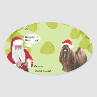 Lhasa Apso w/Santa makin His Naughty or Nice List Oval Sticker