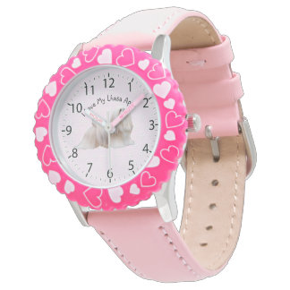 Lhasa Apso with Pink and white diamonds Wrist Watch