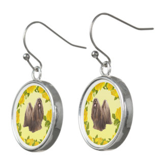 Lhasa Apso with Yellow Roses Earrings