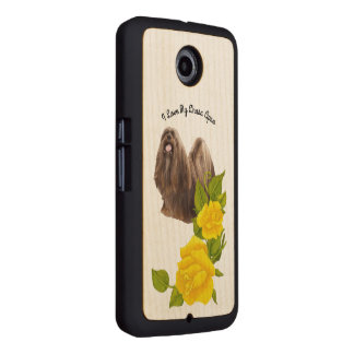 Lhasa Apso with Yellow Roses on Maple Wood Phone Case