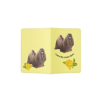 Lhasa Apso with Yellow Roses Passport Holder