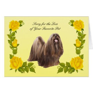 Lhasa Apso with Yellow Roses Sympathy Card