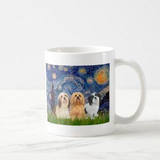 Lhasa Apsos (three) - Starry Night Basic White Mug