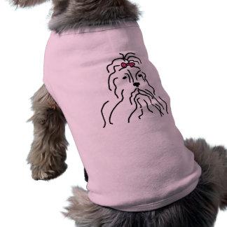 Lhaso Apso Pink Bow Sleeveless Dog Shirt