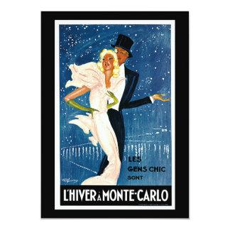 L'Hiver a Monte-Carlo Vintage Travel Advertisement 13 Cm X 18 Cm Invitation Card