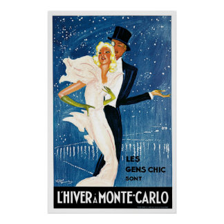 L'Hiver Monte Carlo Monaco Vintage Poster