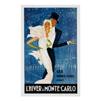 L'Hiver Monte Carlo Monaco Vintage Travel Poster