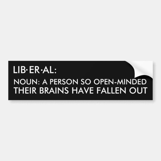 LIB ER AL:, ., ., NOUN: A PERSON SO OPEN-MINDED... BUMPER STICKER