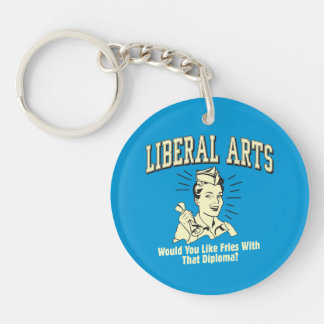 Liberal Arts: Like Fries With Diploma Double-Sided Round Acrylic Key Ring