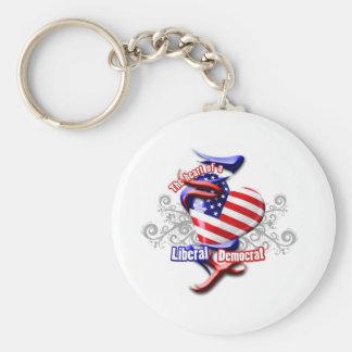 Liberal Democrat Heart Keychain