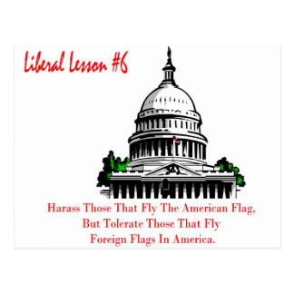 Liberal Lesson 6.	Harass Who Fly American Flag, Postcard