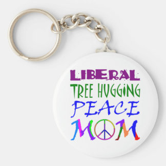 Liberal Tree Hugging Peace Mom Basic Round Button Key Ring