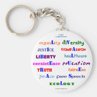 Liberal Values Basic Round Button Key Ring
