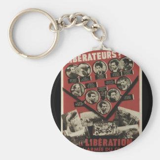 Liberation Propaganda Poster Basic Round Button Key Ring