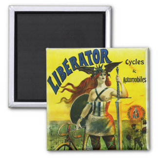 LIBERATOR Cycles & Automobiles Vintage Bicycle Square Magnet