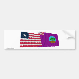 Liberia and Bomi County Waving Flags Bumper Stickers