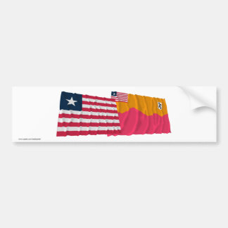 Liberia and Bong County Waving Flags Bumper Stickers