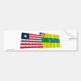 Liberia and Maryland County Waving Flags Bumper Sticker